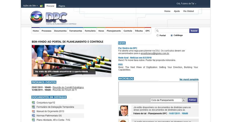 Intranet empresarial da área de Planejamento e Controladoria da Rede Globo